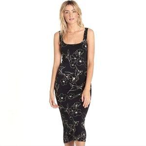 Billabong Black & White Floral Jersey Tank Dress